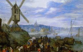 Wallpaper landscape, Jan Brueghel the elder, River Pier with Mill, picture
