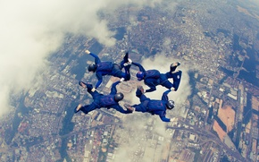 Picture clouds, the city, parachute, container, helmet, skydivers, extreme sports, parachuting, formation skydiving, 4-way FS
