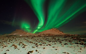 Picture the sky, mountains, night, Northern lights