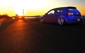 Picture sunset, blue, tuning, volkswagen, Golf, R32, golf, gti