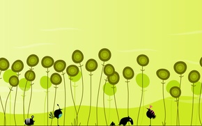 Picture birds, flowers, hedgehog, green Wallpaper, insects