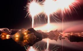Picture night, lights, lake, new year, fireworks, Iceland, Jokulsarlon