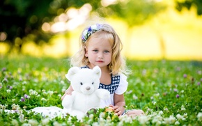 Picture summer, grass, toy, child, bear, girl, girl, bear, little, teddy, child, little