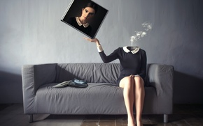 Picture girl, sofa, portrait
