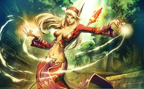 Picture girl, the city, magic, elf, staff, elf, ears, world of warcraft