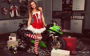 Picture look, smile, Girls, dress, box, posing on motorcycle Kawasaki Ninja ZX-6R, girl Dessie