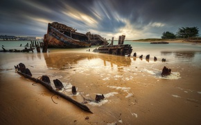 Picture France, ship, the remains, sunken, the river of Etel