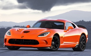 Picture the sky, orange, Dodge, Dodge, supercar, Viper, the front, Viper, SRT