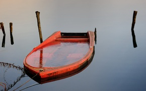 Picture nature, lake, boat, ice