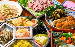 Picture vegetables, seafood, Japanese cuisine, meals, cuts