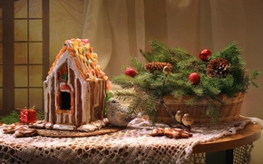 Picture spruce, birds, bumps, gingerbread house, candied