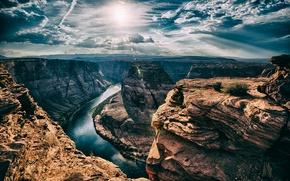 Picture the sun, river, AZ, Horseshoe Bend, horseshoe
