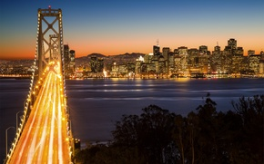 Picture mountains, night, bridge, the city, lights, dawn, megapolis, San Francisco, Bay Bridge, Yerba Buena Island, …