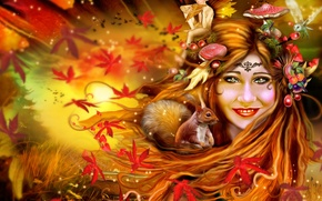 Picture autumn, leaves, girl, owl, elf, mushrooms, protein