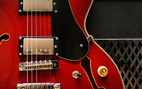 Picture macro, strings, electric guitar, Gibson 335