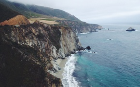 Wallpaper San Simeon, fog, road, coastline, beach, island, wave, United States, rocks, CA