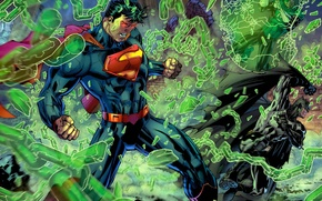 Picture Superman, green lantern, fight.anger