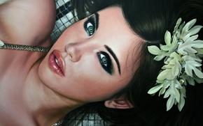 Picture flower, eyes, look, girl, face, hair, lips, lies, beautiful, painting, Christiane Vleugels