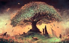 Picture grass, landscape, flowers, children, tree, woman, art, page