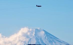 Wallpaper the sky, Japan, the plane, C-130 Hercules, Fossa, mountain Kumotori, Tokyo Prefecture
