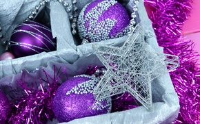 Wallpaper New Year, box, tinsel, winter, toys, the rain, lilac, asterisk, New Year, Christmas, star, the ...