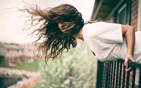Picture girl, the wind, hair, tilt, balcony