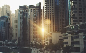 Picture the sun, the city, street, Windows, building, home