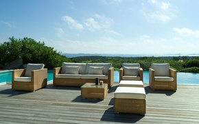 Picture design, style, interior, pool, chairs, terrace, RATAN