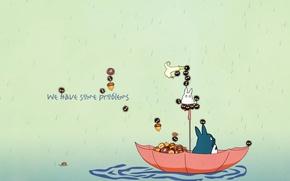 Wallpaper my neighbor Totoro, float, my neighbor totoro, totoro, acorns, umbrella, rain