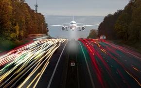Picture road, lights, excerpt, the plane