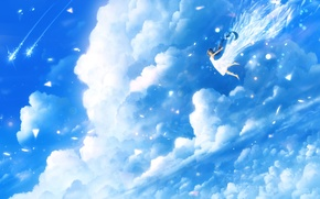 Picture the sky, clouds, anime, art, girl