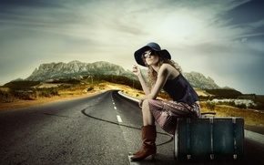 Picture road, girl, mountains, suitcase