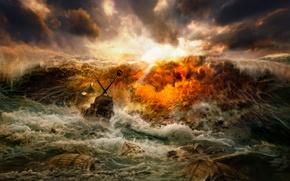 Wallpaper storm, wave, shipwreck
