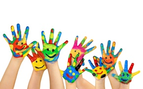 Picture SMILE, CHILDHOOD, CHILDREN, PALM, FINGERS, COLOR, WHITE, PAINT, HANDS, BACKGROUND