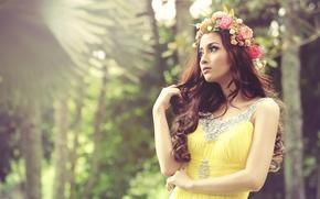 Picture girl, flowers, hair, dress, Asian, curls, wreath, curls