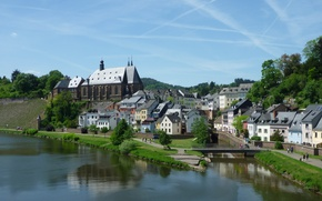Picture the city, home, Germany, water channel, Saarburg