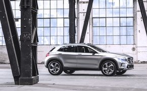 Picture Concept, Auto, Machine, Grey, Silver, Jeep, Mercedes Benz, The room, Side view, GLA