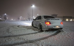 Wallpaper snow, light, snowfall, winter, lights, subaru, Subaru, winter