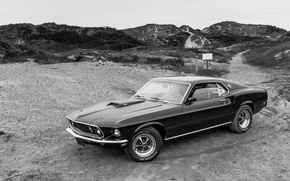 Wallpaper Mustang, Ford, classic, black and white