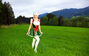 Picture grass, trees, mountains, nature, skirt, meadow, blonde, costume, latex, grass, Susan Wayland, trees, nature, mountains, …
