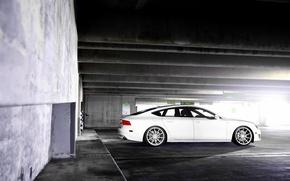 Picture Audi, Audi, white, wheels, side, vossen