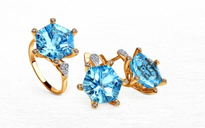 Picture gold, ring, decoration, earrings, diamond, set, Topaz