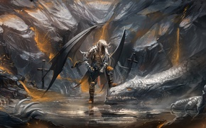 Wallpaper crosses, dragon, sword, warrior, art, bones, sakimichan