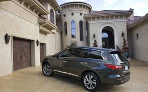 Picture house, yard, wheel, infiniti, hatchback