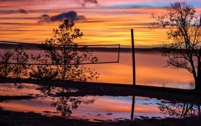 Picture night, river, mesh, sport