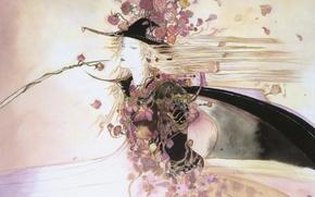 Picture figure, roses, hat, cloak, blade, Di vampire hunter, Vampire hunter D, long white hair, by …