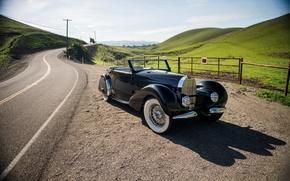 Picture road, retro, the fence, hill, Bugatti, Cabriolet, 1936, Stelvio