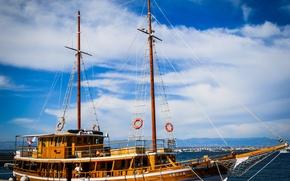 Picture sky, sea, blue, ship, Croatia