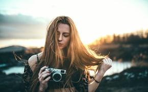 Picture girl, the camera, bokeh, ROOM GIRL