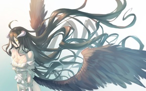 Picture Girl, Wings, Overlord, art, Albedo, Demoness